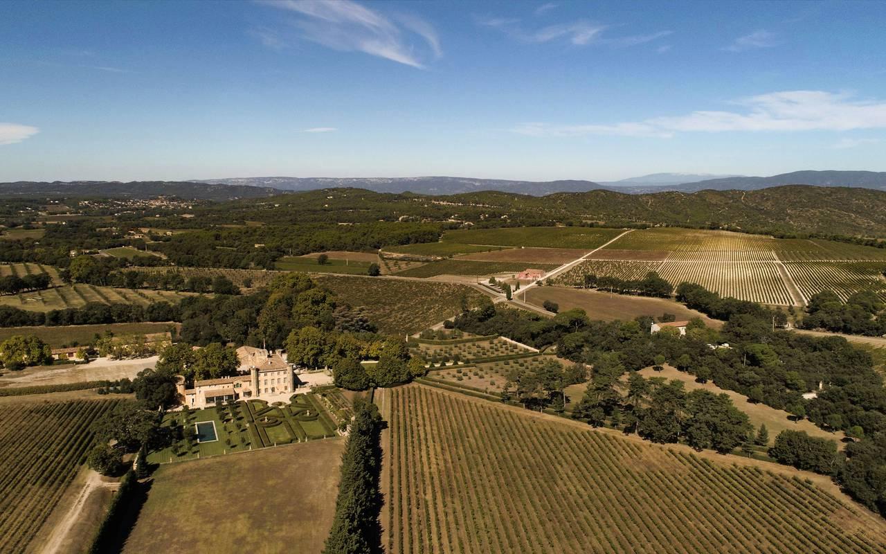 Vue aérienne autour de la Villa Baulieu - maison d'hôte de charme luberon